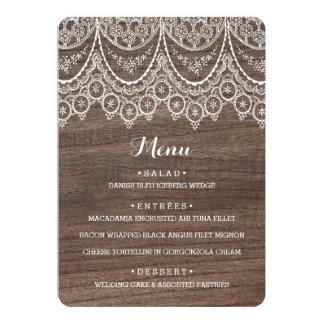 Rustic Barn Wood Lace Wedding Menu Card