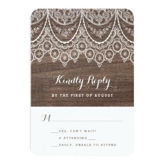 Rustic Barn Wood Lace Wedding Response RSVP Card