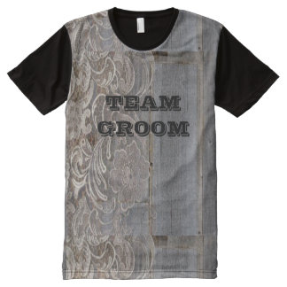 rustic barn wood lace western country team groom All-Over print T-Shirt