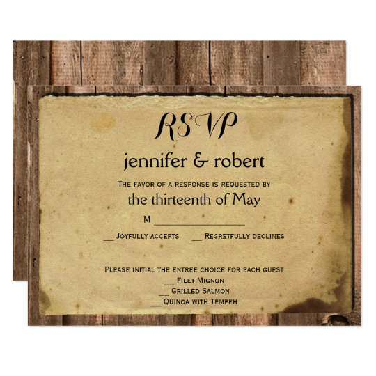 Rustic Barn Wood Lantern Wedding Response Card