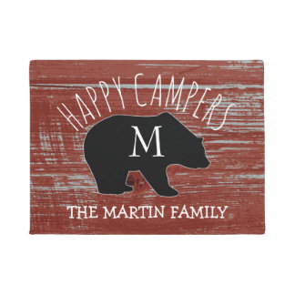 Rustic Barn Wood Monogrammed Bear | Happy Campers Doormat