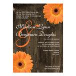 Rustic Barn Wood Orange Daisy Wedding Invitations Personalized Invite