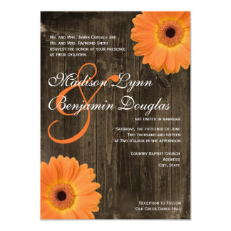 Rustic Barn Wood Orange Daisy Wedding Invitations