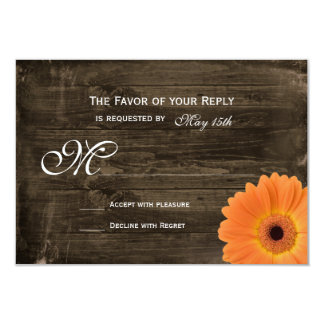 Rustic Barn Wood Orange Daisy Wedding RSVP Cards