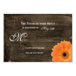 Rustic Barn Wood Orange Daisy Wedding RSVP Cards Personalised Announcements