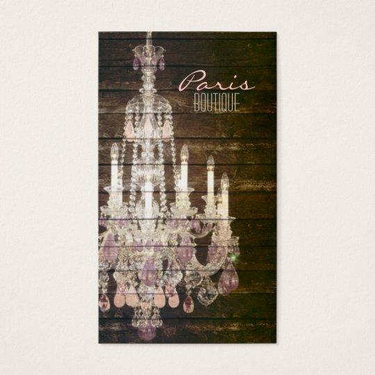 Rustic Barn Wood Paris vintage chandelier Business Card
