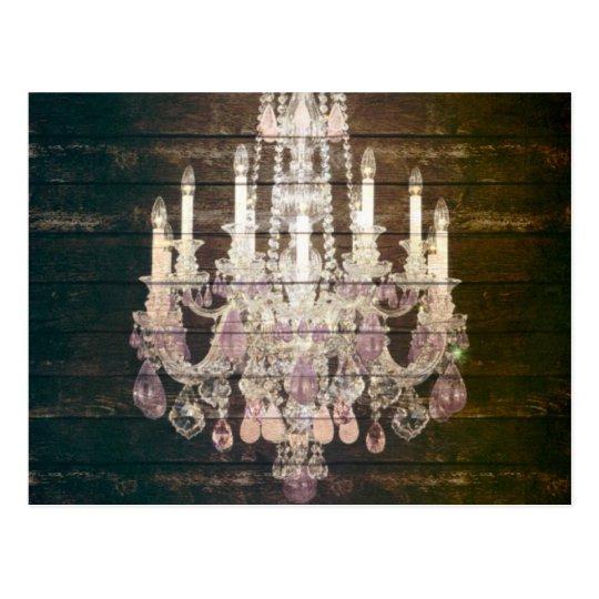 Rustic Barn Wood Paris vintage chandelier Postcard