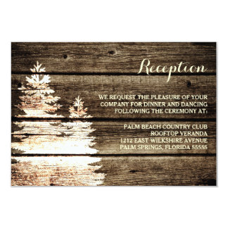 Rustic Barn Wood Pine Trees Winter Reception Card 9 Cm X 13 Cm Invitation Card
