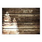 Rustic Barn Wood Pine Trees Winter Wedding RSVP Card