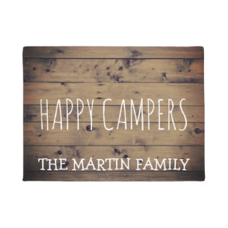 Rustic Barn Wood Plank Personalized | Happy Camper Doormat