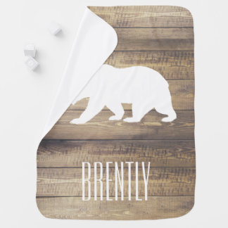 Rustic Barn Wood Planks White Bear & Name Baby Blankets