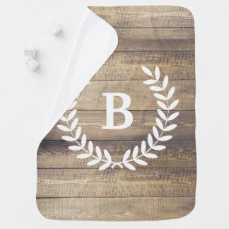Rustic Barn Wood Planks White Laurels & Initial Baby Blanket