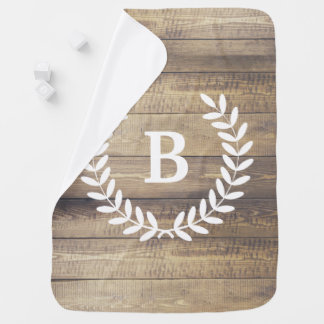 Rustic Barn Wood Planks White Laurels & Initial Receiving Blankets