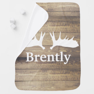 Rustic Barn Wood Planks White Moose Antlers & Name Baby Blanket