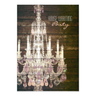 Rustic Barn Wood purple french chandelier Card