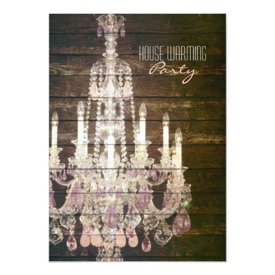 Rustic Barn Wood purple french chandelier Card