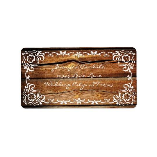 Rustic Barn Wood Scroll Wedding Address Labels