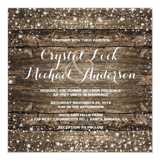 Rustic Barn Wood Snowflakes Winter Wedding Card