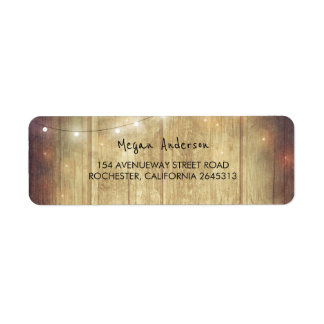 Rustic Barn Wood String Lights Wedding Return Address Label