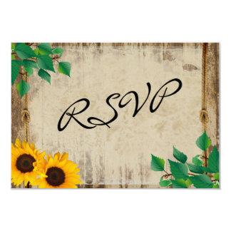 Rustic Barn Wood Sunflower 9 Cm X 13 Cm Invitation Card