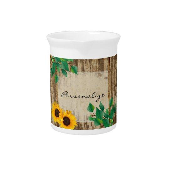 Rustic Barn Wood Sunflower Pitcher