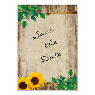 Rustic Barn Wood Sunflower Save the Date 9 Cm X 13 Cm Invitation Card