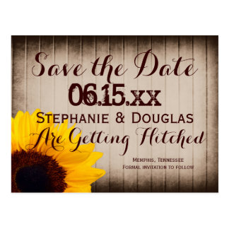 Rustic Barn Wood Sunflower Save the Date Postcards