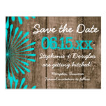 Rustic Barn Wood Teal Save the Date Postcards