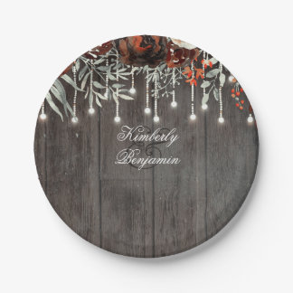 Rustic Barn Wood Texture Old Aged Burgundy Floral 7 Inch Paper Plate