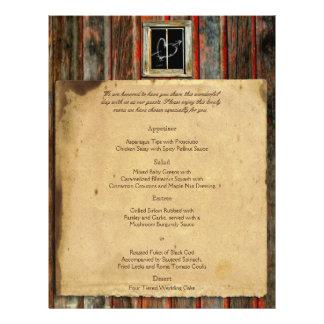 Rustic Barn Wood Wedding Menu Flyer