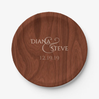 Rustic Barn Wood Wedding Monogram 7 Inch Paper Plate