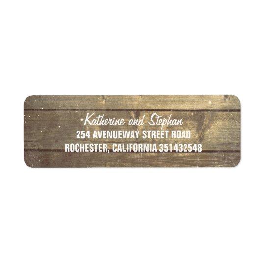 Rustic Barn Wood Wedding Return Address Label