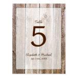 Rustic Barn Wood Wedding Table Number Post Card