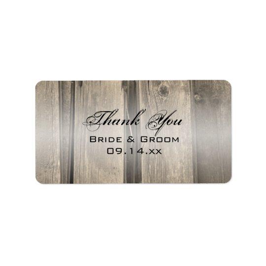 Rustic Barn Wood Wedding Thank You Favour Tag Address Label