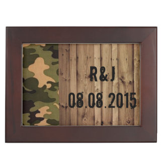 rustic barn wood western country Camo Wedding Keepsake Box