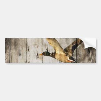 Rustic Barn wood Western Country flying Wild Duck Bumper Sticker