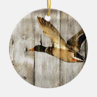 Rustic Barn wood Western Country flying Wild Duck Christmas Ornament