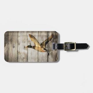 Rustic Barn wood Western Country flying Wild Duck Luggage Tag