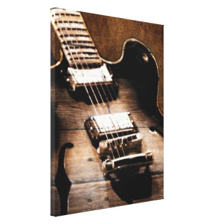 Rustic Barn Wood Western Country Music Guitar Canvas Print