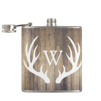 Rustic Barn Wood & White Deer Antlers Hip Flask