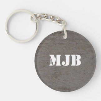 Rustic barn wood with monogram or name key ring