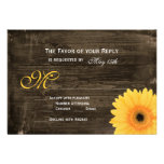 Rustic Barn Wood Yellow Daisy Wedding RSVP Cards