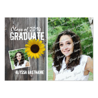 Rustic Barnwood and Sunflower Graduation Card