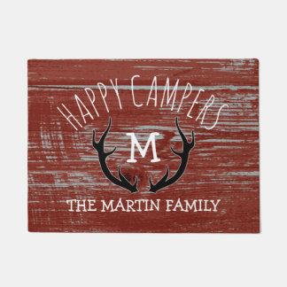 Rustic Barnwood Antlers Family Name Happy Campers Doormat