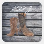 rustic barnwood Cowboy Boots Country wedding Sticker