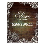 rustic barnwood lace country wedding save the date