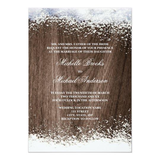 Rustic barnwood snow winter wedding card