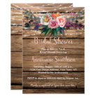 Rustic Barnwood Spring Wildflowers Bridal Shower Card