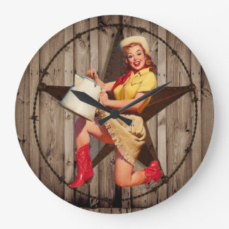 rustic BarnWood texas star western country cowgirl Large Clock