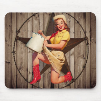 rustic BarnWood texas star western country cowgirl Mouse Mat